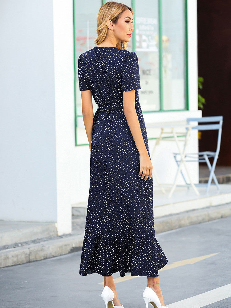 Floral Short Sleeve Long Dress - JNjeans