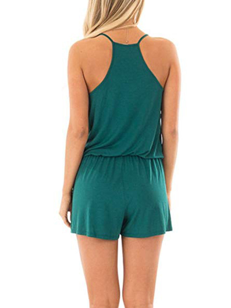 Spaghetti Strap Backless Casual Rompers - JNjeans