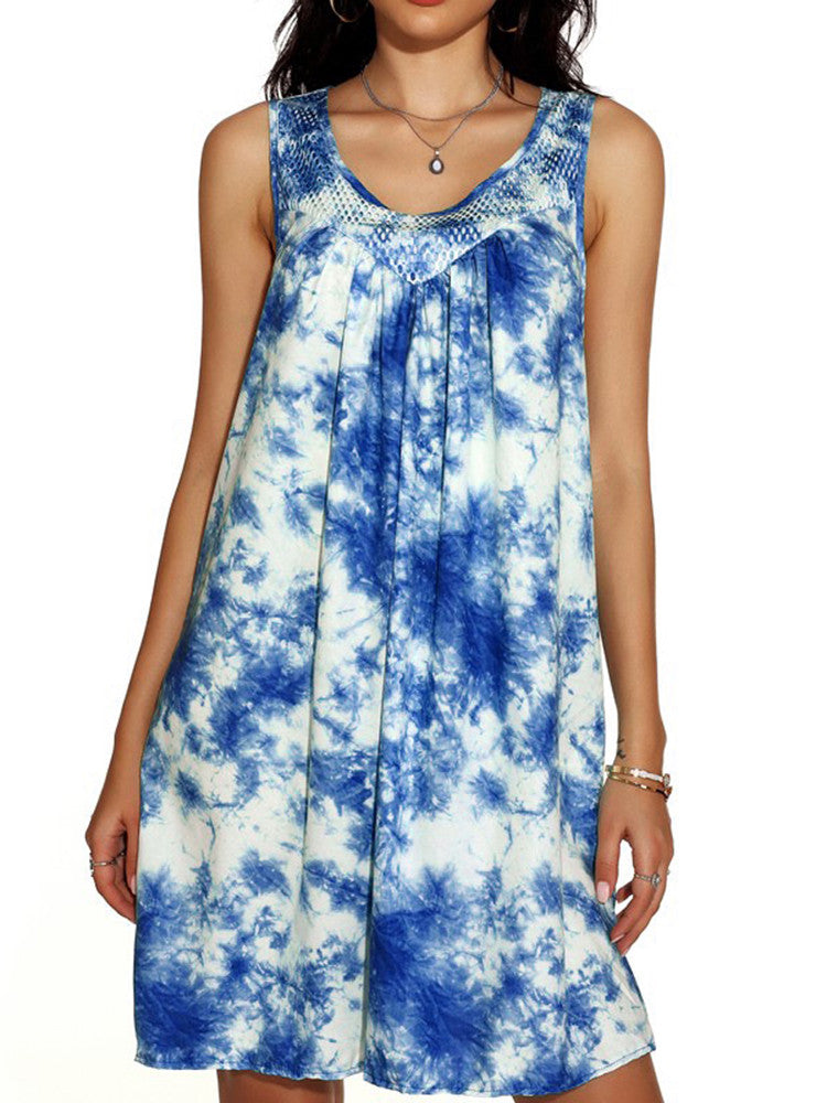 Tie-Dye Lace-Trim Strappy Twist Mini Dress - JNjeans