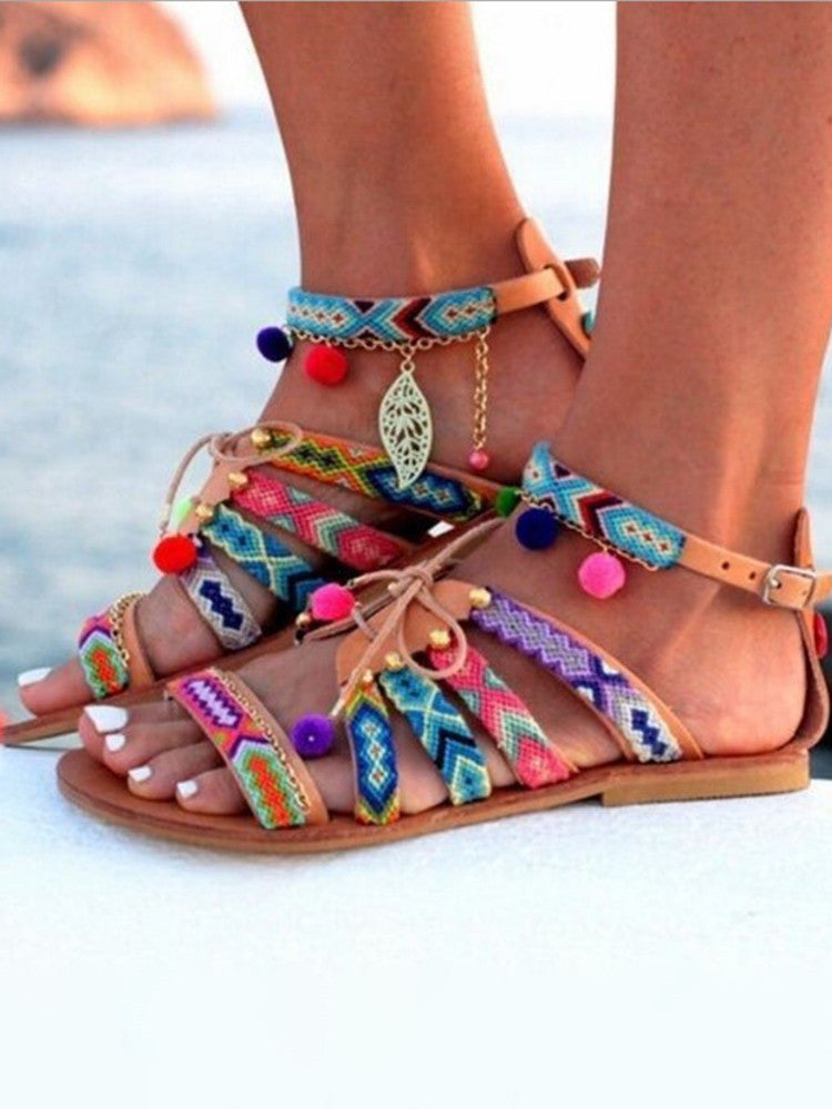 Colorful Flat Gladiator Sandals - JNjeans