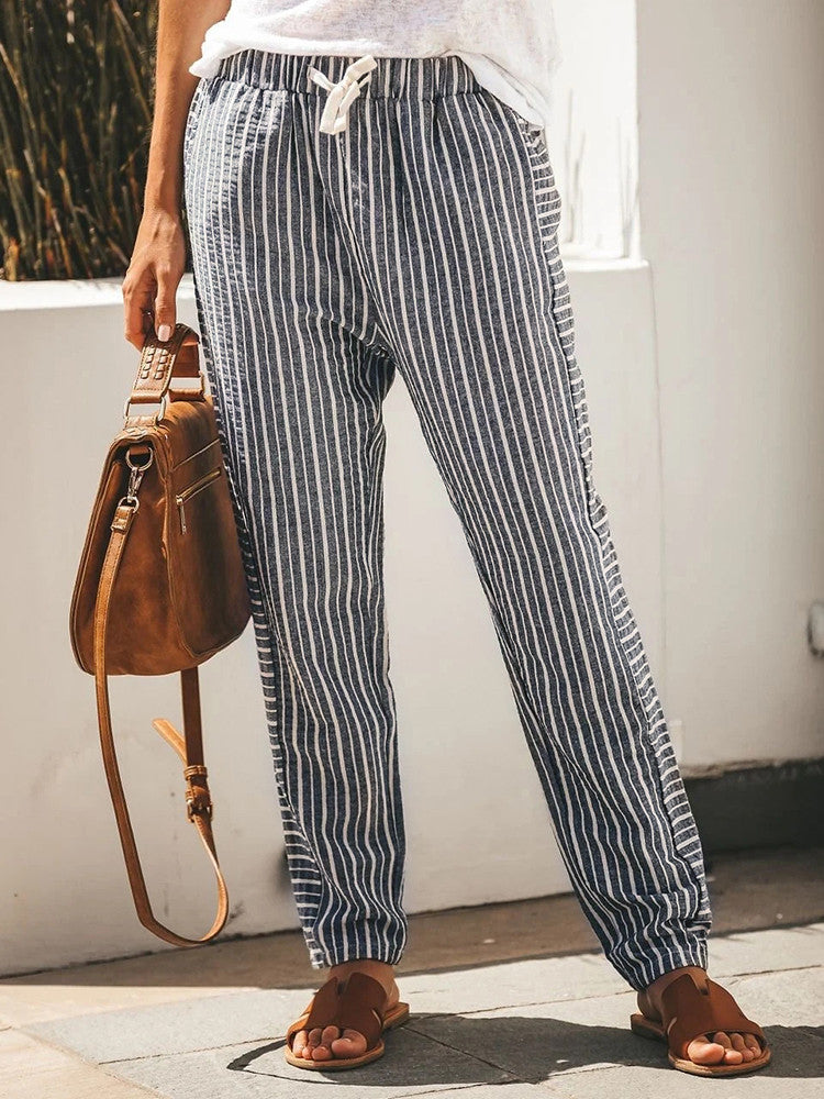 Striped Drawstring Casual Carrot Pants - JNjeans