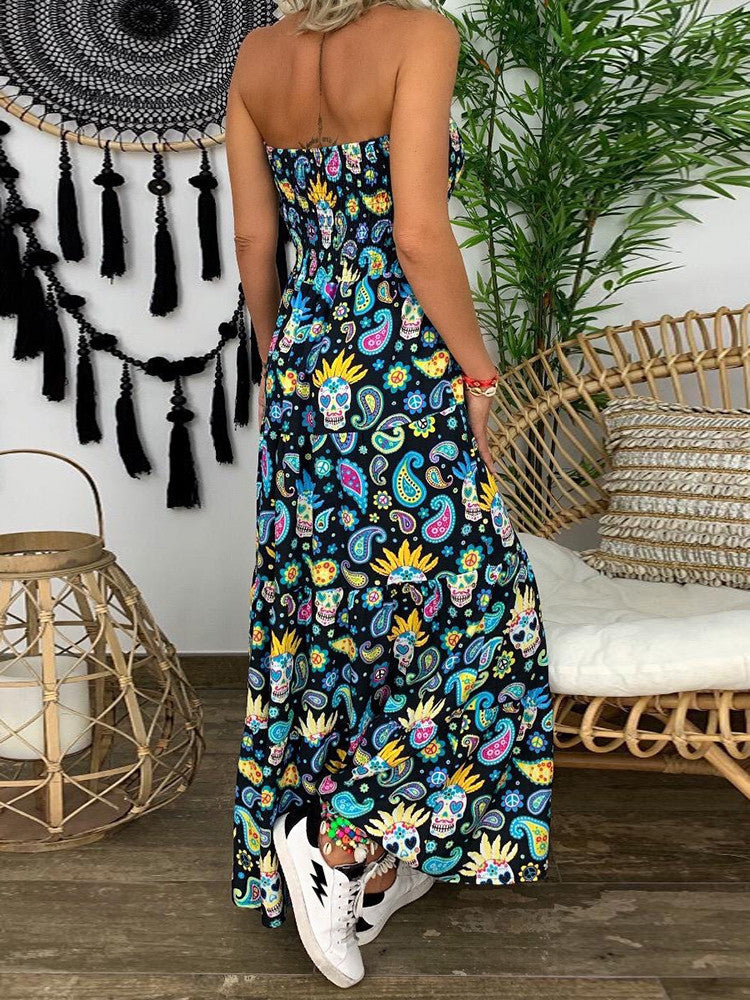 Floral Strapless Smocked Maxi Dress - JNjeans