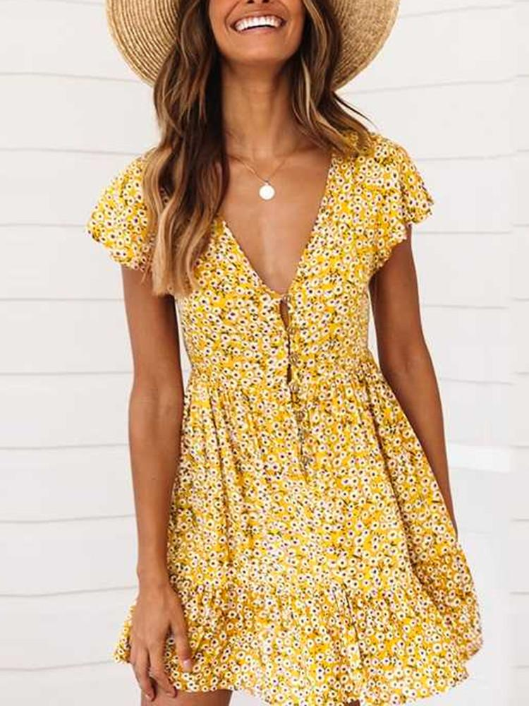 Floral V-Neck Short-Bell-Sleeve Button-Down Mini Dress - JNjeans