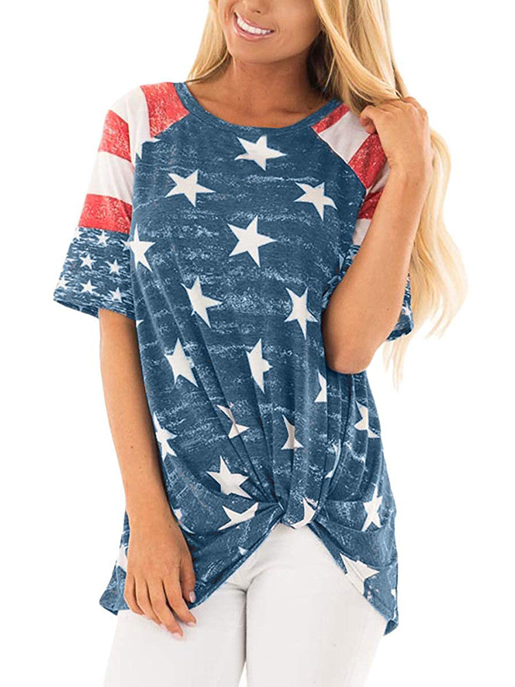 Round Neck Flag Print Twist Loose T-Shirt - JNjeans