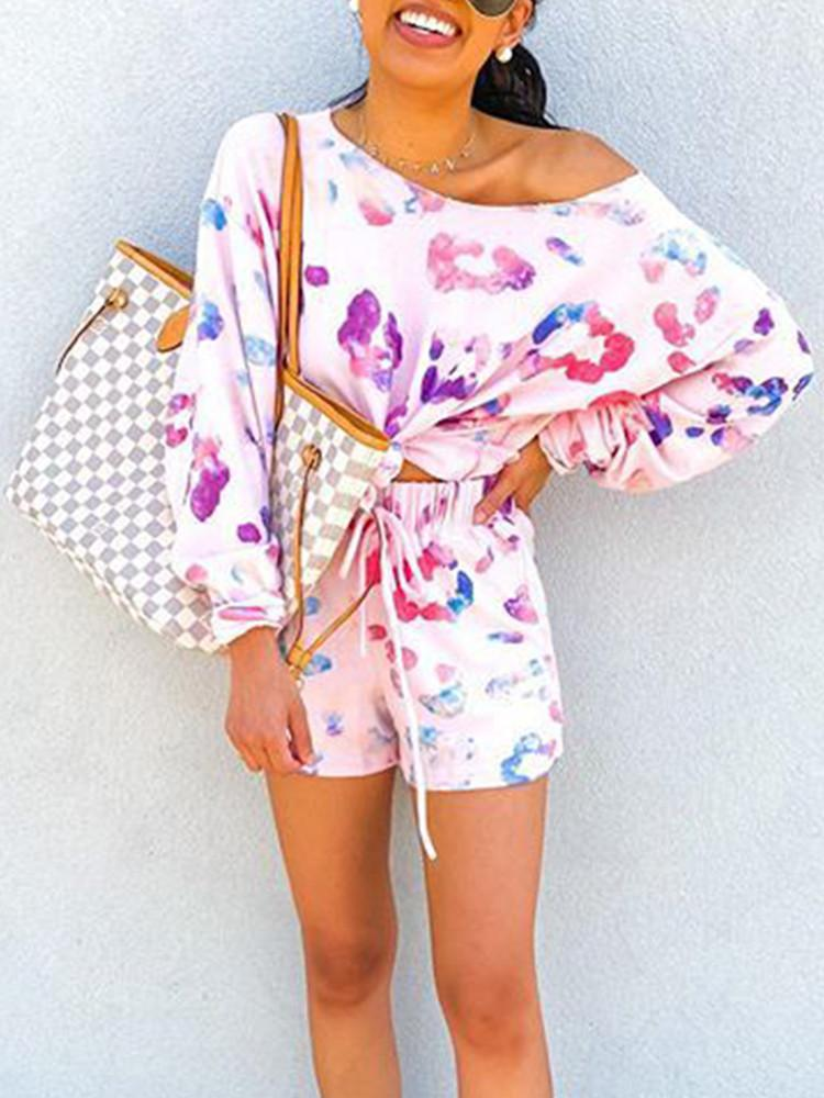 Floral Long-Sleeve One-Shoulder Top Shorts Set - JNjeans