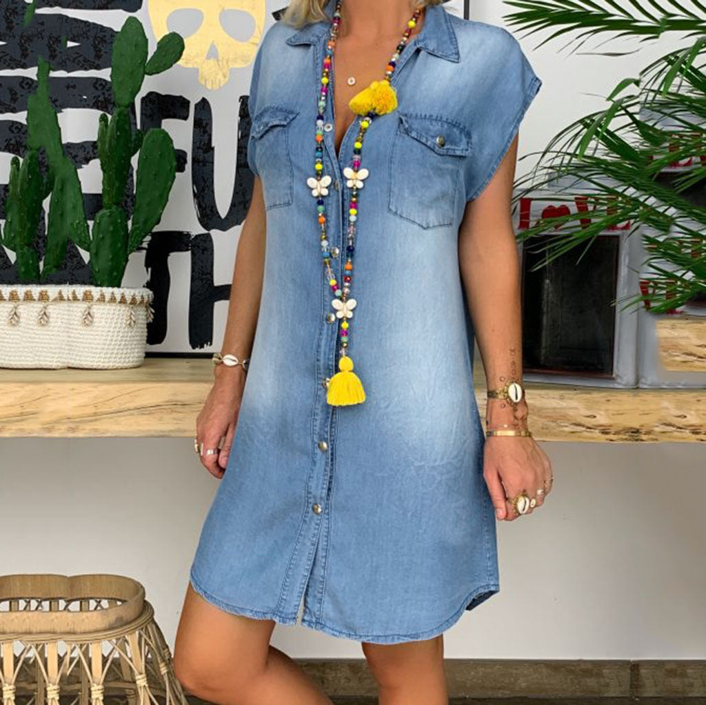 V-neck Pocket Stitching Short Sleeve Denim Dress - JNjeans