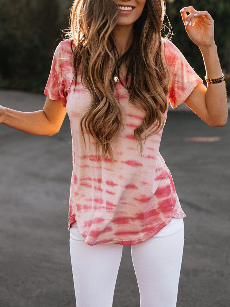 Tie-dye V-Neck Short-Sleeve Casual T-shirt - JNjeans