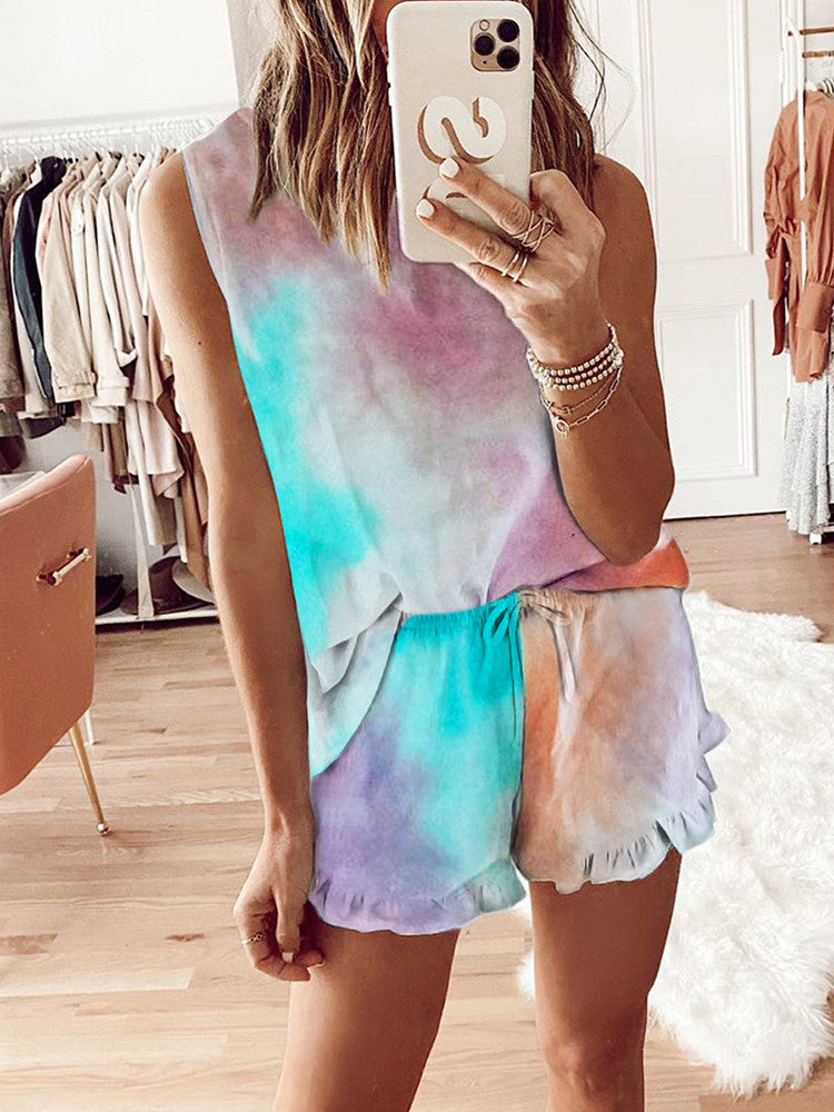 Ruffled Tie-dye Short Sleeve Two-piece - JNjeans