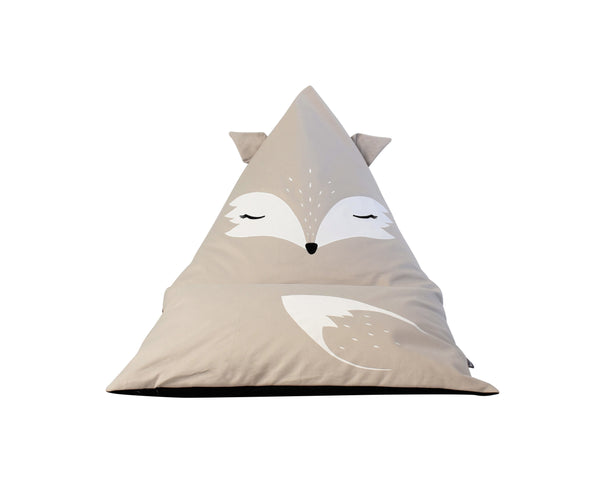 FILLED Lilah the Fox Personalised Bean Bag Chair - Natural