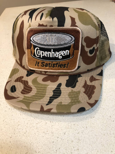 Old School Camo Trucker Hat With Copenhagen Patch