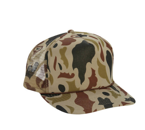 OLD SCHOOL CAMO TRUCKER HAT