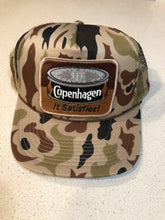 Load image into Gallery viewer, Old School Camo Trucker Hat With Copenhagen Patch