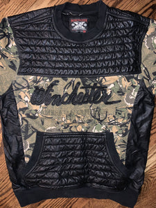 Vintage Winchester Camo Leather Pullover Shooting Sweatshirt