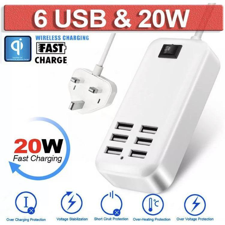 Six Port USB Fast Charger 20W USB Desktop Fast Charging Station Hub - Time 2 Talk Swansea