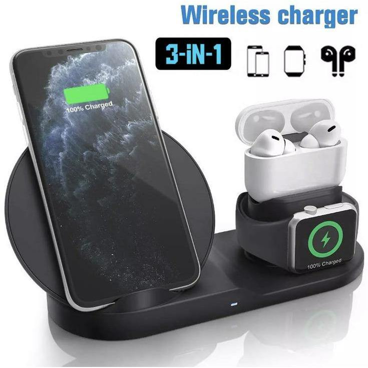 3 in 1 Fast Wireless Charger Stand for apple devices - Time 2 Talk Swansea