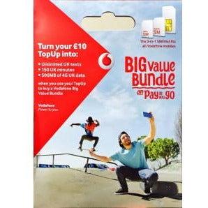Vodafone pay as you go Trio sim card - Time 2 Talk Swansea