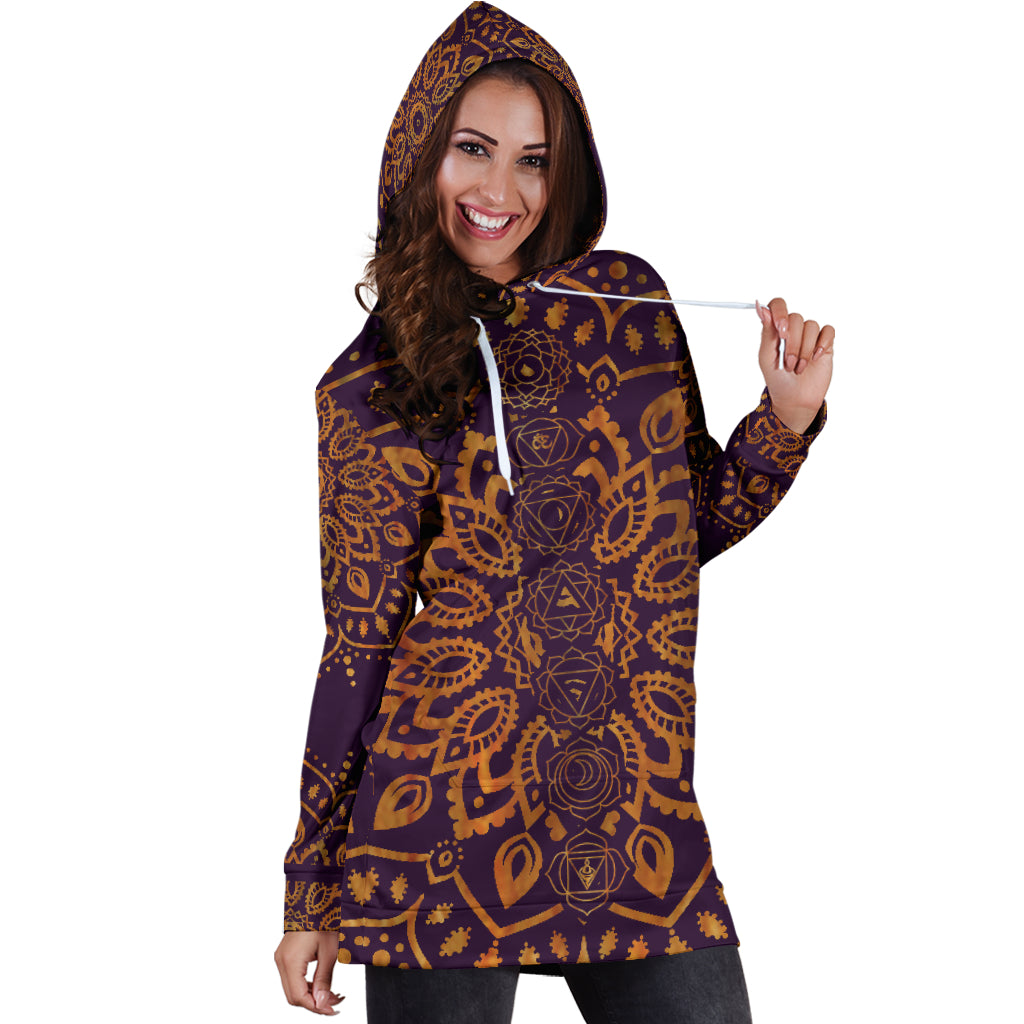 Gold Chakra Mandala Women's Hoodie Dress