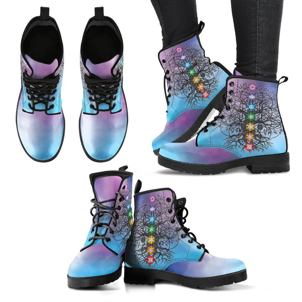 Leather Boots - Chakra Tree Of Life Women's Leather Boots!
