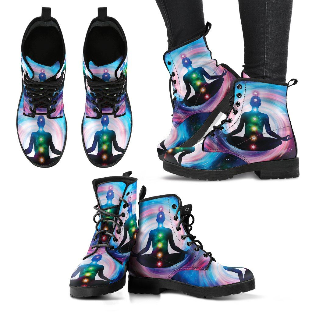 Leather Boots - Glowing Chakra Women's Leather Boots