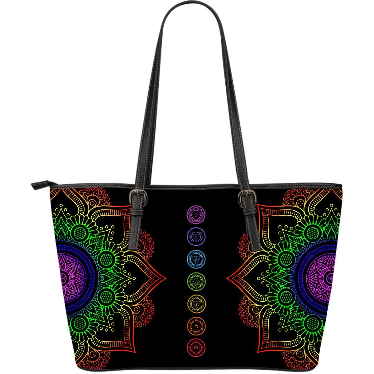 Leather Tote Bag - Chakra Mandala Leather Bag!