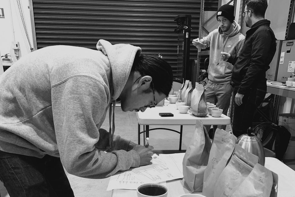 Takumi of Brut coffee scoring coffee for Australian Coffee Roasting Championship 2019 in Melbourne