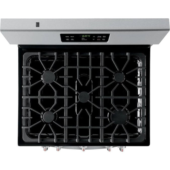 Frigidaire - 30-in 5 Burners 5-cu ft Self-Cleaning Freestanding Gas Range - EasyCare Stainless Steel