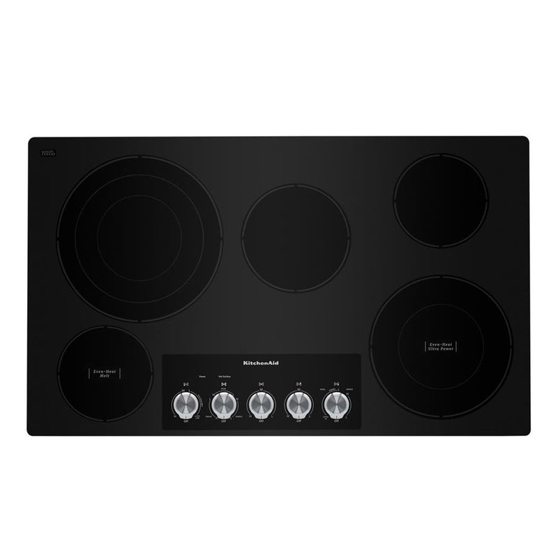 "KitchenAid - 36"" Built In Electric Cooktop - Black - Appliances Club"