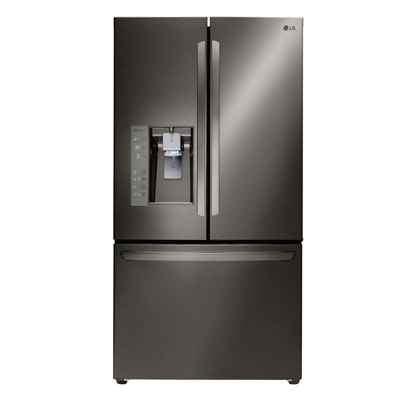 LG - 24.0 Cu. Ft. Counter Depth French Door Refrigerator - Black Stainless Steel