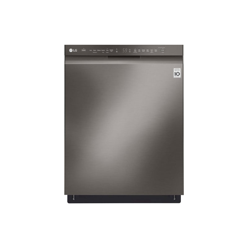 "LG - 24"" Front Control Built In Dishwasher with QuadWash and Stainless Steel Tub - PrintProof Black Stainless Steel - Appliances Club"