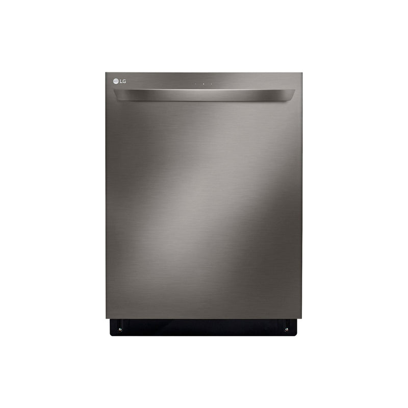 "LG - 24"" Top Control Built In Dishwasher with Stainless Steel Tub - PrintProof Black Stainless Steel - Appliances Club"