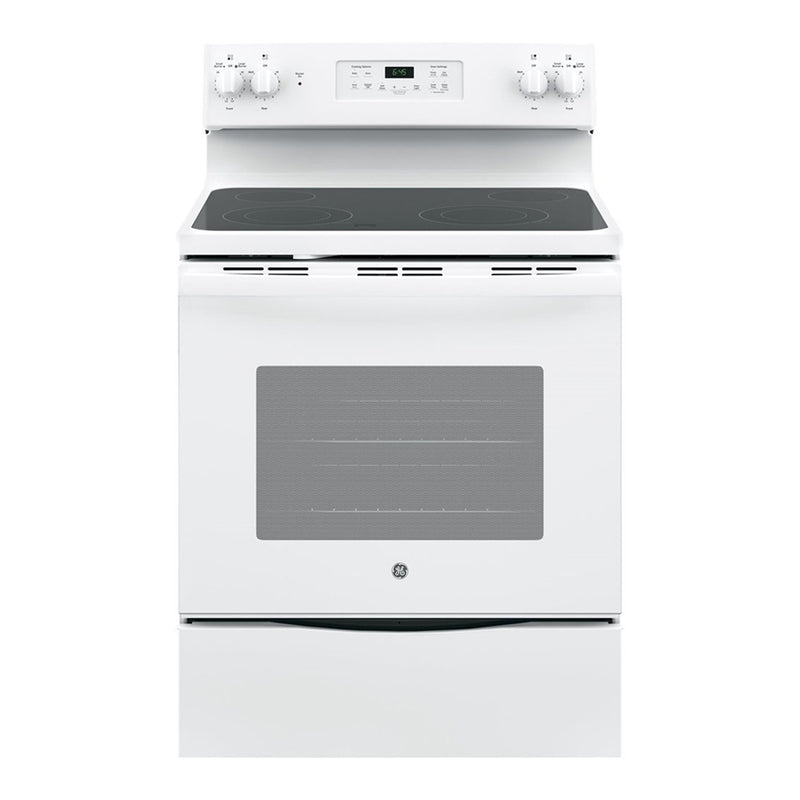 GE - 5.3 Cu. Ft. Self Cleaning Freestanding Electric Range - White