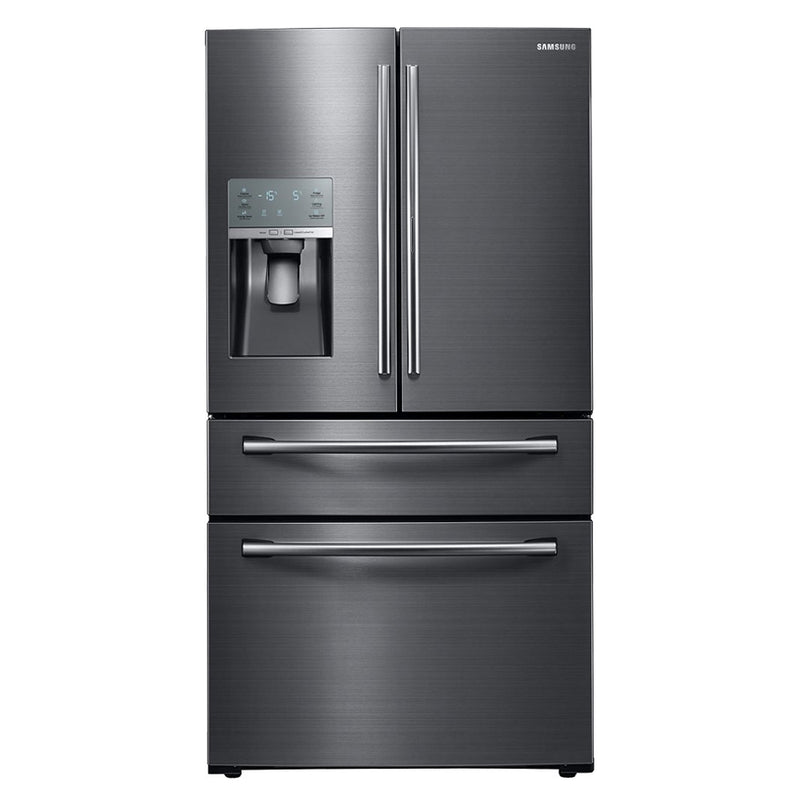 Samsung - 27.8 Cu. Ft. 4 Door French Door Refrigerator with Food ShowCase and Thru the Door Ice and Water - Fingerprint Resistant Black Stainless Steel - Appliances Club