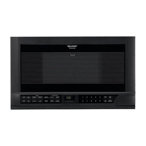 Sharp - 1.5 cu. ft. Over the Counter Microwave in Black with Sensor Cooking Technology - Black - Appliances Club