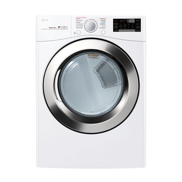 LG - 7.4 Cu. Ft. 12 Cycle Smart Wi-Fi Electric SteamDryer Sensor Dry and TurboSteam - White - Appliances Club