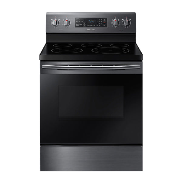 Samsung - 5.9 cu. ft. Freestanding Electric Range with Convection - Black Stainless Steel