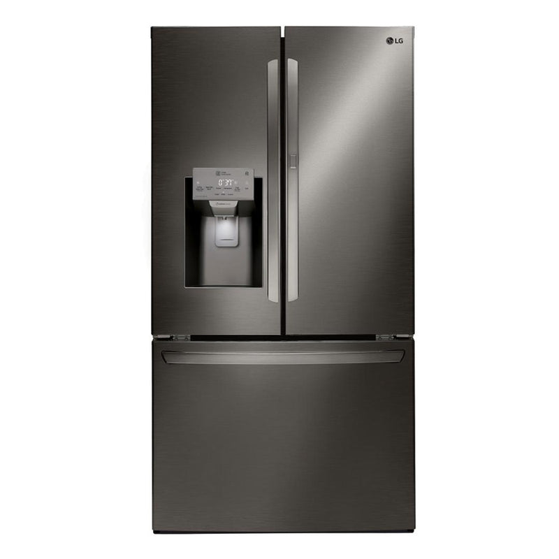 LG - 27.7 Cu. Ft. French Door in Door Smart Wi Fi Enabled Refrigerator - Black stainless steel