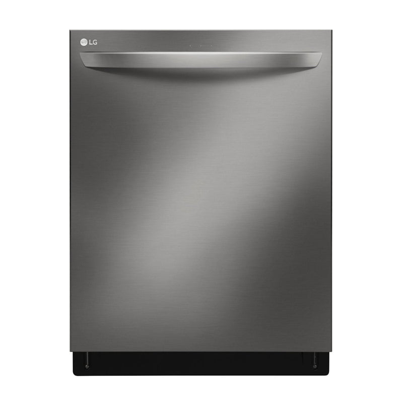 "LG - 24"" Top Control Smart Wi-Fi Enabled Dishwasher with QuadWash and Steel Tub with Light - PrintProof Black Stainless Steel - Appliances Club"