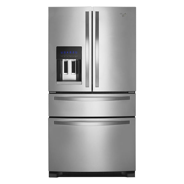 Whirlpool - 25 cu ft 4 Door French Door Refrigerator with Ice Maker-Monochromatic Stainless Steel