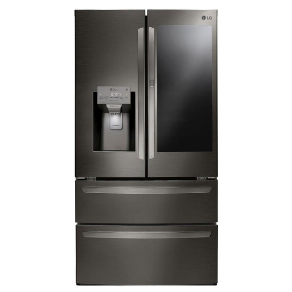 LG - InstaView Door in Door 27.8 Cu. Ft. 4 Door French Door Refrigerator - PrintProof Black Stainless Steel - Appliances Club