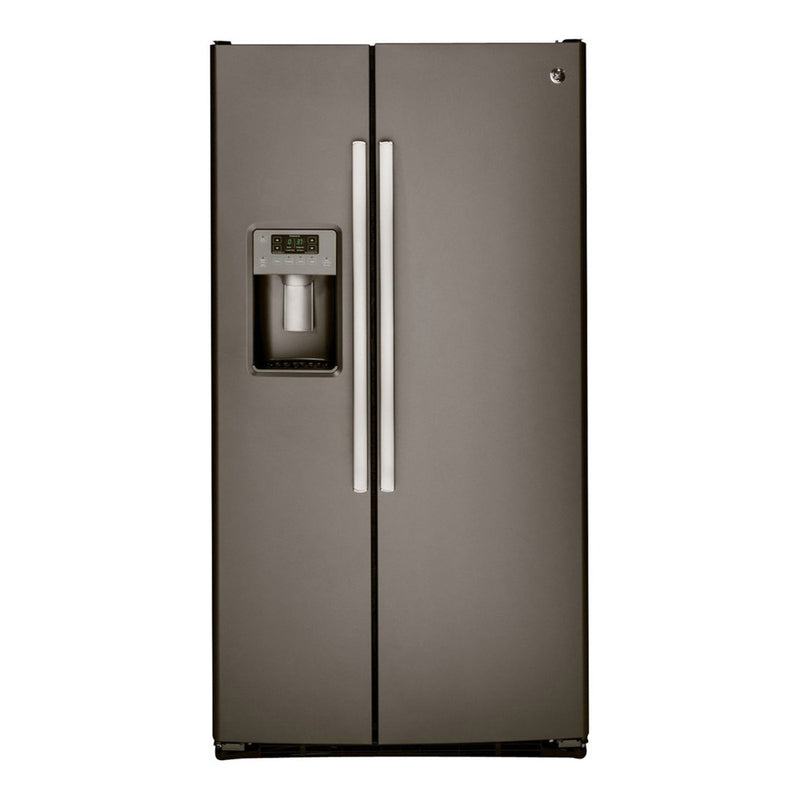 GE - 25.4 Cu. Ft. Side by Side Refrigerator with Thru the Door Ice and Water - Slate