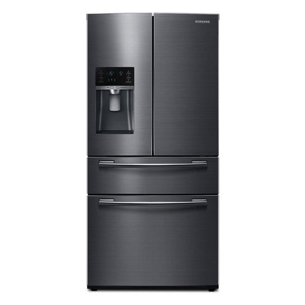 Samsung-24.73 Cu Ft 4 Door Flex French Door Refrigerator-Fingerprint Resistant Black Stainless Steel