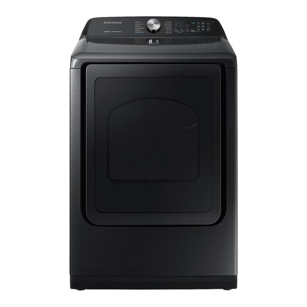 Samsung - 7.4 Cu. Ft. 12 Cycle Electric Dryer with Steam-Fingerprint Resistant Black Stainless Steel