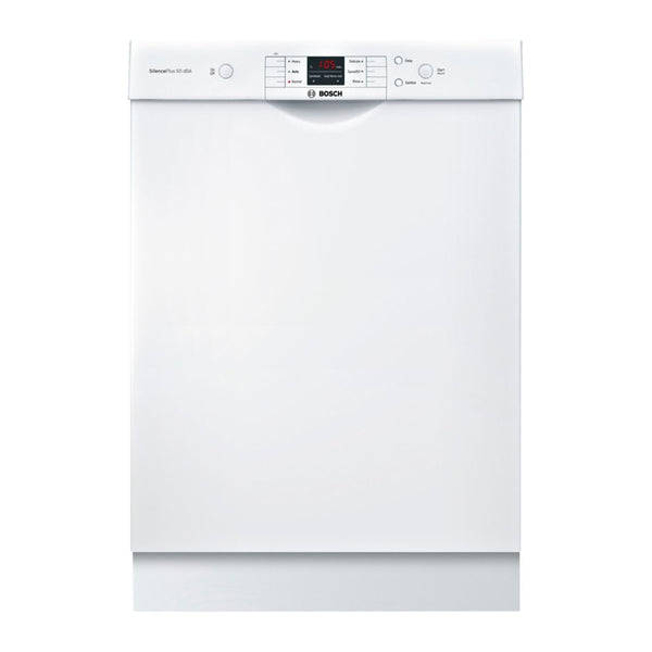 "Bosch - 100 Series 24"" Front Control Built In Dishwasher with Stainless Steel Tub - White"