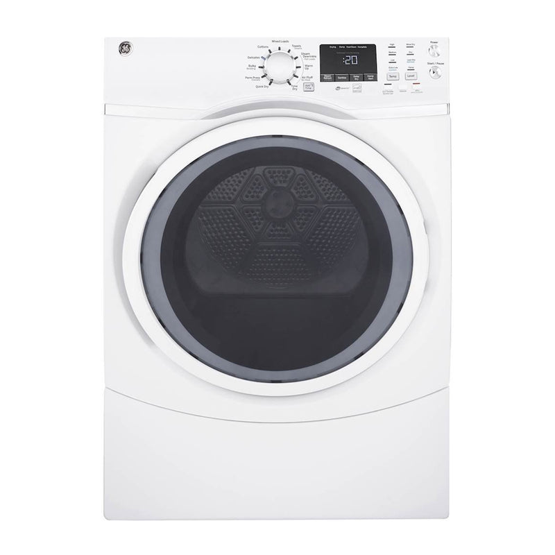 GE - 7.5 Cu. Ft. 13 Cycle Gas Dryer with Steam - White