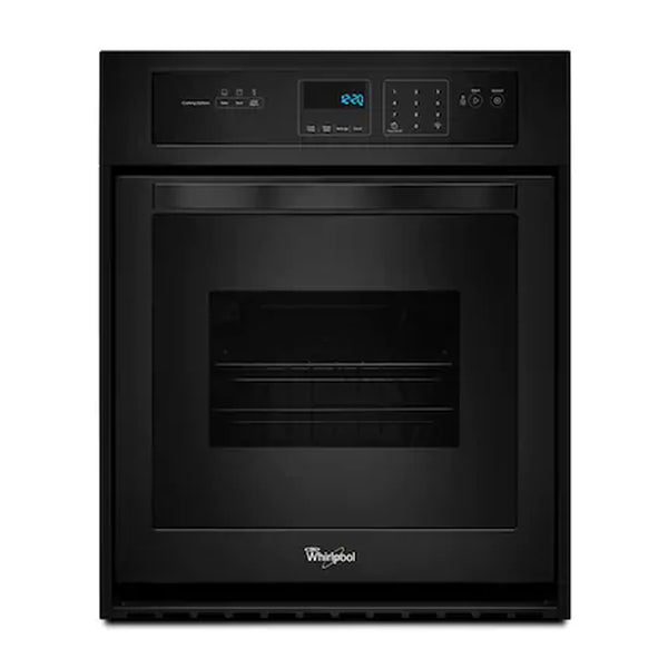 "Whirlpool - 24"" Built In Single Electric Wall Oven - Black - Appliances Club"