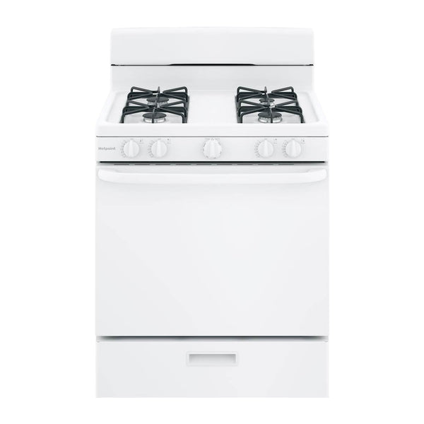 Hotpoint - 4.8 Cu. Ft. Freestanding Gas Range - White - Appliances Club