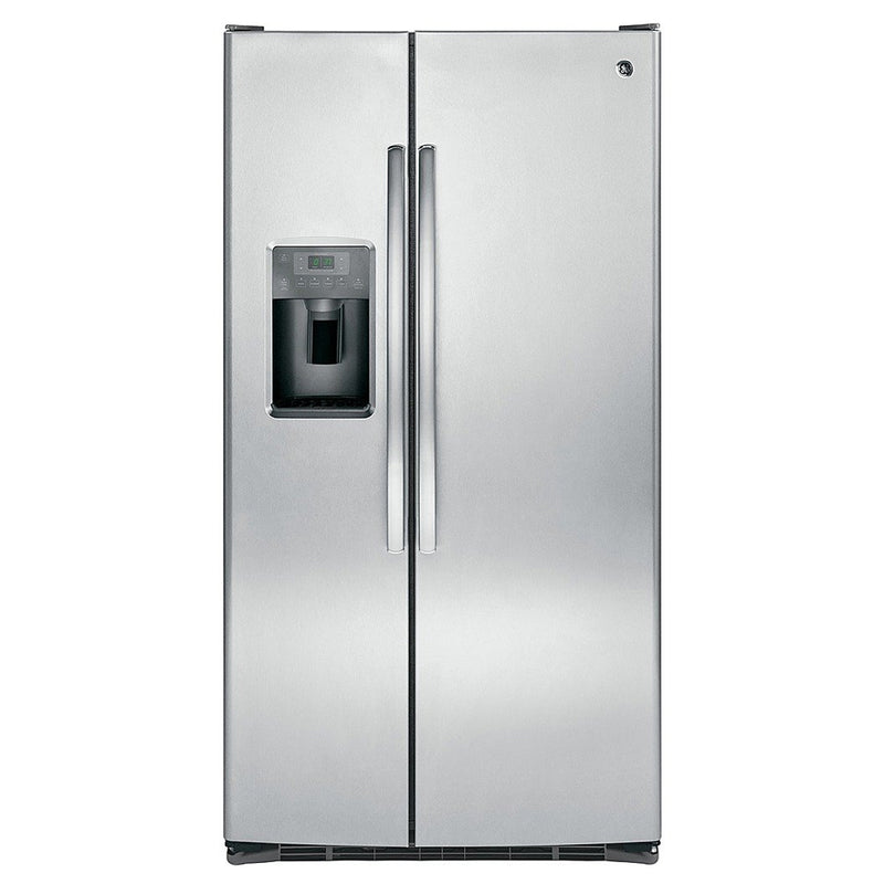 GE - 25.4 Cu. Ft. Frost Free Side by Side Refrigerator with Thru the Door Ice and Water - Stainless steel - Appliances Club