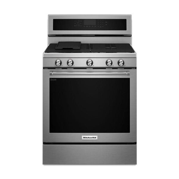 KitchenAid - 5 Burners 5.8 cu ft Self Cleaning Convection Freestanding Gas Range - Stainless Steel - Appliances Club