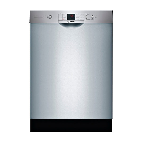 "Bosch - 100 Series 24"" Front Control Built In Dishwasher with Stainless Steel Tub - Stainless steel - Appliances Club"