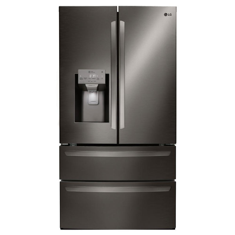 LG - 27.8 cu. ft. 4 Door French Door Smart Refrigerator with 2 Freezer Drawers and Wi-Fi Enabled - Black Stainless Steel - Appliances Club